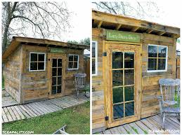 Floors Made From Pallets Pallet Garden Shed Roofed Using Tin Cans O Pallet Ideas O 1001 Pallets