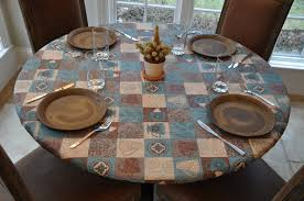 Round Plastic Table Covers With Elastic Elastic Edged Flannel Backed Vinyl Fitted Table Cover Global
