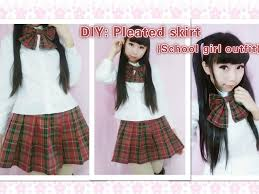 diy how to make cute school girl outfit pleated skirt side pleats you