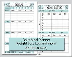 workout and food journal weekly food log etsy