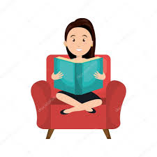 avatar woman cartoon sitting on blue couch reading a blue book vector ilration vector by yupiramos