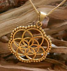 flower of life golden brass pendant geometrical pngb08 cocoroots com
