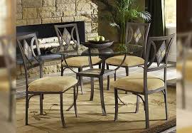bernards diamond round gl pedestal table and four side chairs