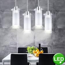 Led Chrom Pendel Leuchte Ess Zimmer Decken Beleuchtung Glas