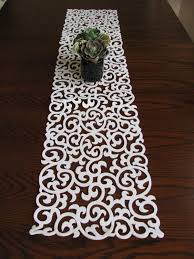 white modern pattern thick cut out felt table runner  patterns