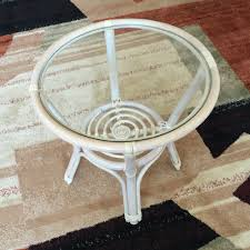 Small Round Rattan Table Round Small Coffee Table Diana 21 Color White With Glass Top