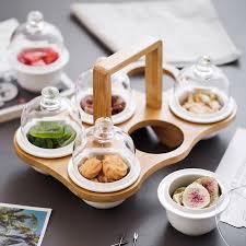 Khay tre đựng mứt tết, bánh kẹo, hoa quả - gồm hũ sứ - chụp thủy tinh sang  trọng – set 6 hũ - phong cách Nhật Bản tại Hà Nội
