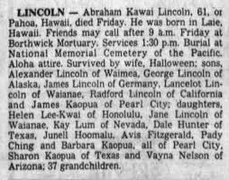 Abraham Kawai Lincoln - obituary - Newspapers.com