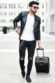 how to wear black quilted leather biker jacket white crew neck t