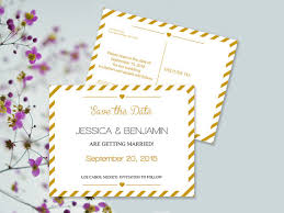 Save The Date Postcard Templates Gold Carnival Stripes