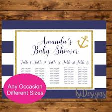 Table Seating Chart Baby Shower Nautical Seating Chart Printable Navy And Gold Nautical Table Seating Chart Baby Shower Bridal Shower Birthday Wedding Seating Chart