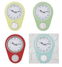 retro plastic kitchen wall clock with cooking timer 1 of 1free
