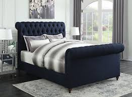 navy blue bedroom furniture. Image Is Loading NAVY-BLUE-BUTTON-TUFTED-WOVEN-KING-SCROLL-SLEIGH- Navy Blue Bedroom Furniture D