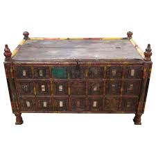 1880 s turkish hand painted wooden trunk for