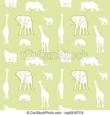 Safari Animals Template Seamless Light Green Safari Animals
