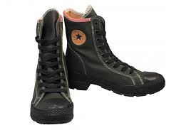 womens black leather high top boots zoom
