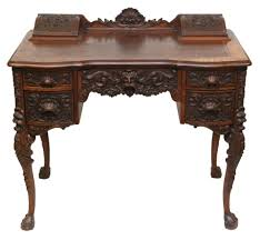 desk classic antique writing desks antique brown finish solid wood material fascinating carved design cabriole legs