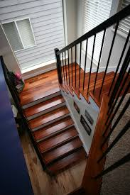 Best Paint For Stairs Wrought Iron Stairway Railing Tigerwood Treads Calico Hickory