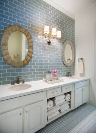 Blue Subway Tile All The Way To The Ceiling Add More Elegance Than