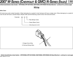 2007 w series chevrolet gmc n series isuzu 250 npr w3500 wires belonging to a system s sub circuits will have a colored stripe