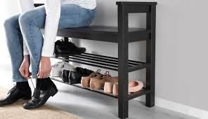 HEMNES Bench with shoe storage, black-brown