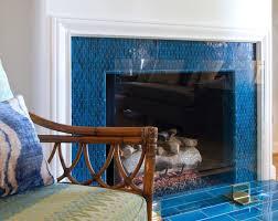 glossy blue tile fireplace