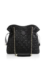 Lyst - Tory burch Marion Quilted Slouchy Tote in Black & Gallery Adamdwight.com