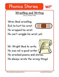 Teaches the eight basic word familiesfor short vowel u: Wrestling And Writing Wr Phonics Stories Reading Comprehension Worksheet Reading Comprehension Worksheets Phonics Reading Passages Phonics