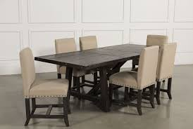 Living Spaces Dining Table Set Jaxon 7 Piece Rectangle Dining Set W Upholstered Chairs Living