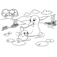 lake coloring page cartoon duck lake coloring page vector stock vector ilration of page image lake coloring page