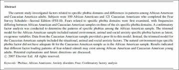 anxiety disorders phobias psych tutor look at this research summary of phobias in african americans and caucasian americans from chapman et al 2008 what similarities and differences do you