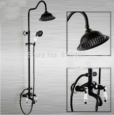 oil rubbed bronze shower faucet with handshower. wholesale and retail promotion oil rubbed bronze rain shower faucet tub mixer tap dual handle with handshower