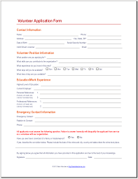 Volunteer Form Template - East.keywesthideaways.co