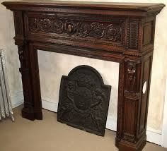 french hand carved wood fireplace mantel