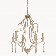 brockton antique white iron and wood chandelier one world