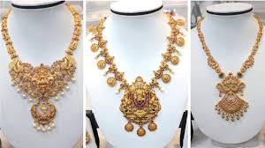 Temple Jewellery Gold Necklace Designs Temple Jewellery Traditional South Indian Gold Necklace Designs
