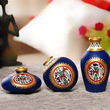 Small Picture Buy ExclusiveLane Terracotta Warli Handpainted Pots Blue Set Of 3