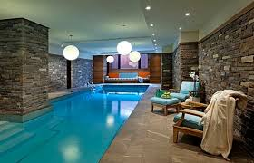 Interesting Indoor Pool House Designs In Gallery Brilliant Pendant Lights Illuminate The With Simple Design