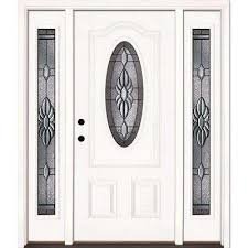 white single front doors. 67.5 In.x81.625 In. Sapphire Patina 3/4 Oval Lt Unfinished White Single Front Doors E