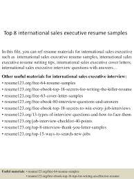 Sales Executive Sample Resume Top 8 International Sales Executive Resume Samples