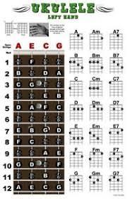Details About Left Handed Ukulele Fretboard Chord Wall Chart Poster Ukelele Uke Hand Leftie