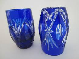 attributes to stevens and williams these two beautiful ruffles leaves stars flowers cobalt overlay blue glass vases brilliant cuts geometric oval