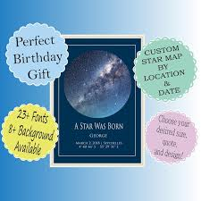 Star Chart By Birthday Unique Birthday Gift Digital Download Custom Star Chart By Date And Location Personalized Night Sky Chart Celestial Astrology Space Map