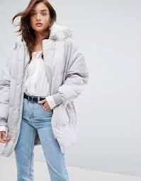 boohoo padded coat with faux fur hood u15j1 for women