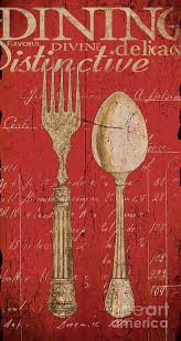 Dining Art Print Featuring The Painting Vintage Kitchen Utensils In Red By  Grace Pullen