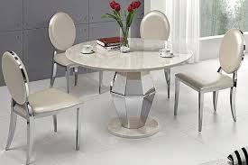 modern round white marble top stainless steel dining table with round leg pictures photos