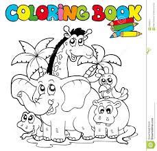 Coloring Book With Cute Animals 1 Stock Vector Illustration Of