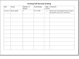 climbing wall award personal climbing logbook page
