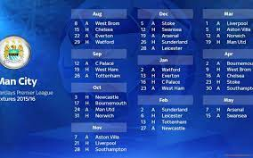 Manchester City Barclays Premier League Fixtures