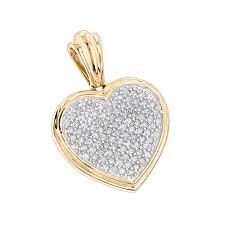 14k gold diamond heart pendant 0 33ct yellow image
